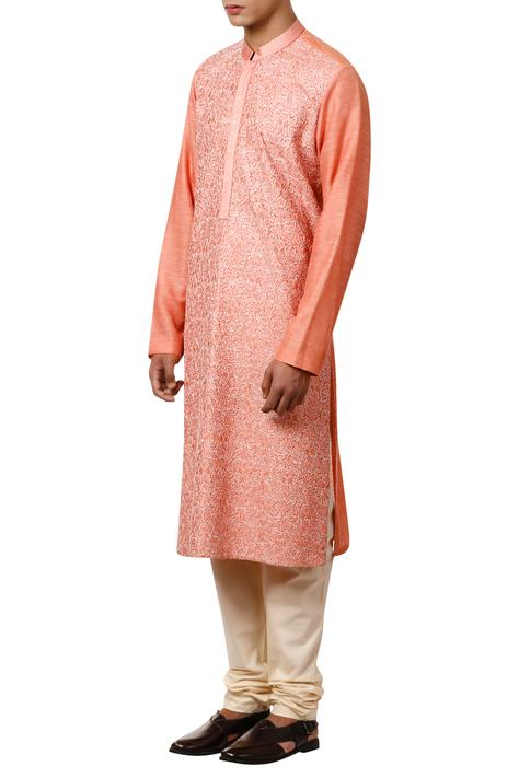 Threadwork embroidered kurta with concealed placket
