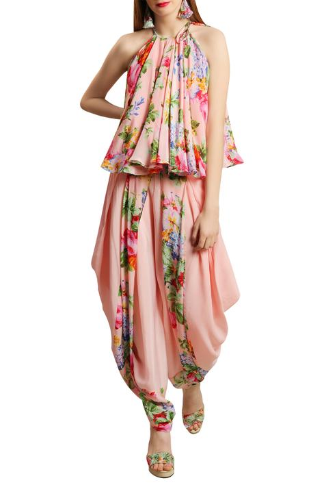 Floral print Halter Top With Dhoti pants