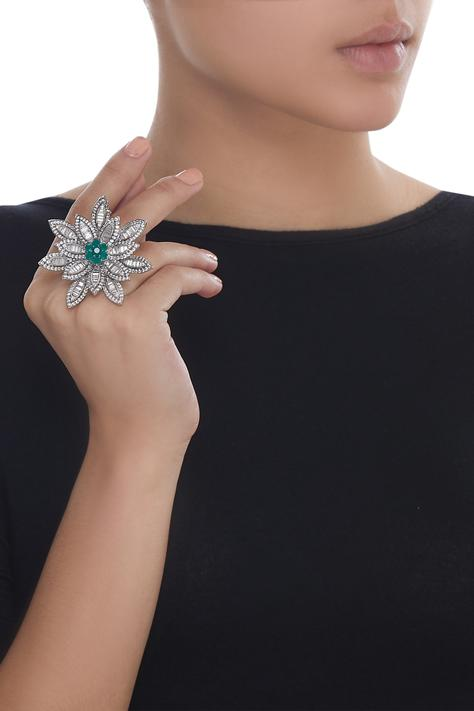Floral crystal studded ring