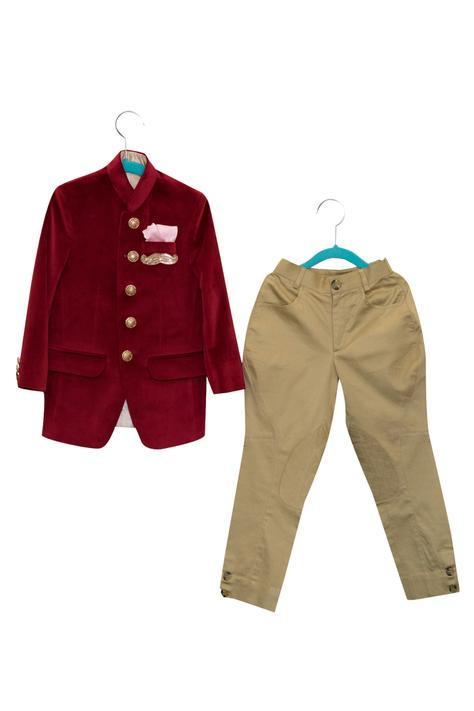 Mustache Embroidered Bandhgala With Breeches