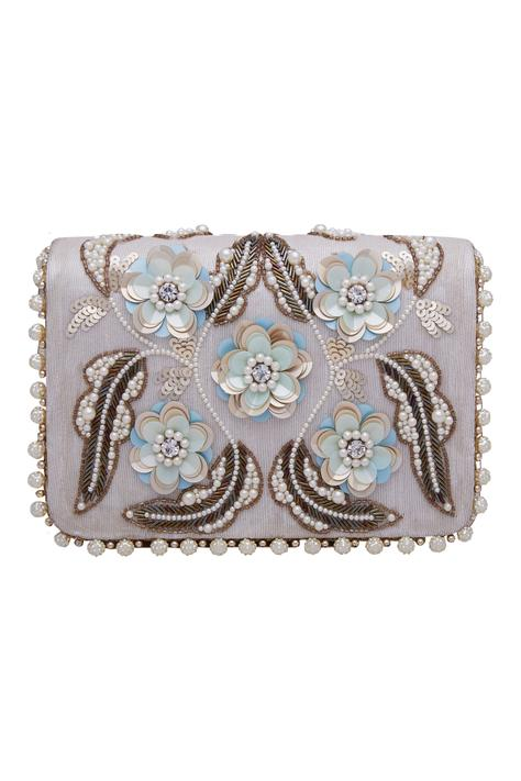 3D flower embroidered clutch cum sling