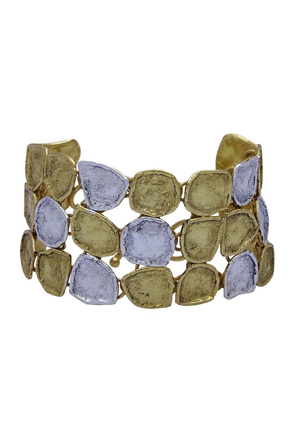 Dual tone coin bracelet