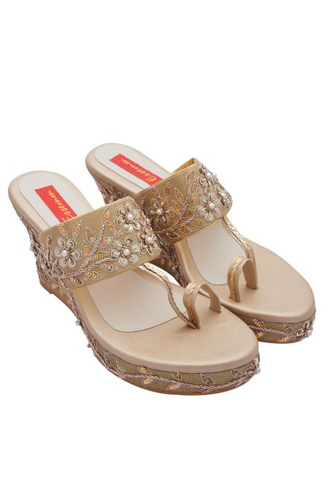 Embroidered Open Toe Wedges