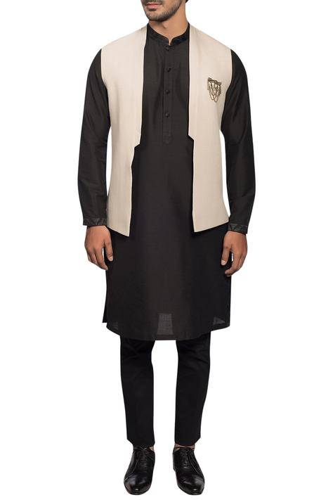 Open Front Bundi Kurta Set