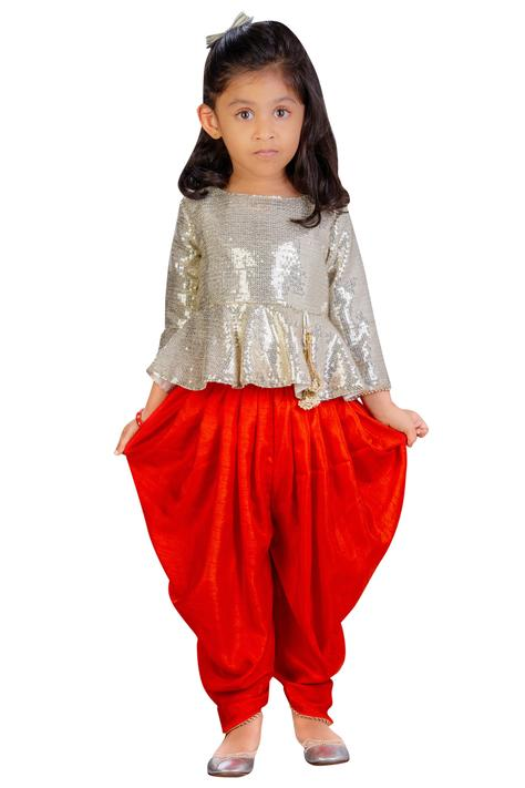 Sequin top with dhoti pants