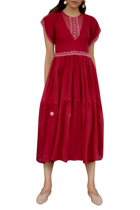 Hand Embroidered Tiered Dress