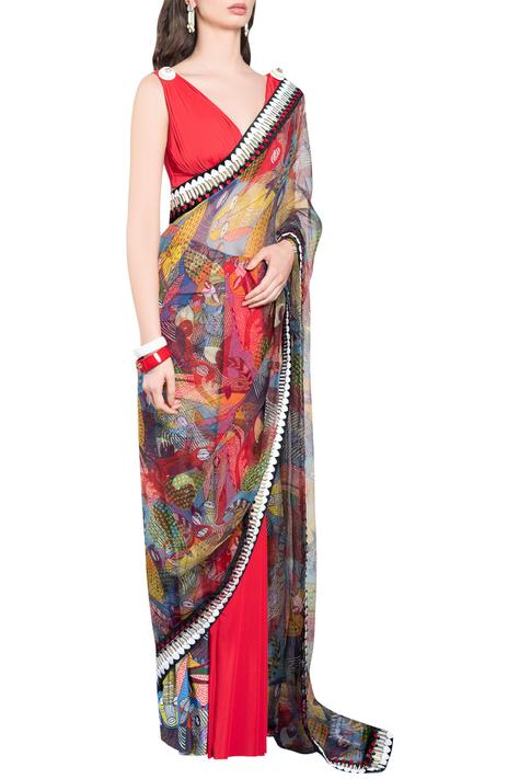 Printed Pre-Draped Saree
