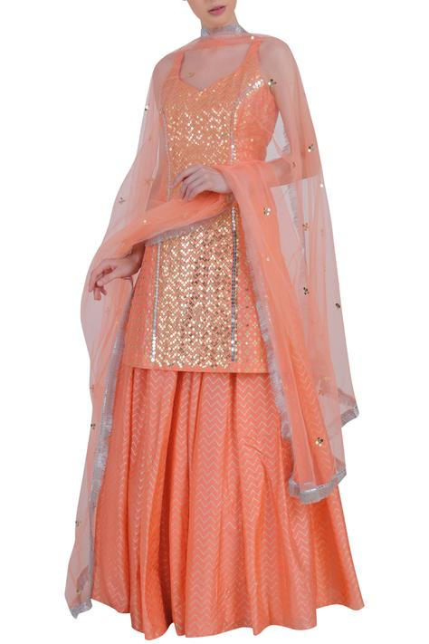 Silk Embroidered Kurta Lehenga Set