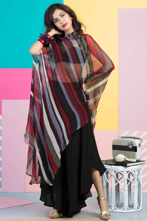 One shoulder printed cape