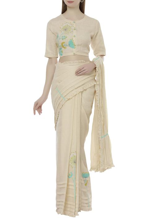 Linen Embroidered Saree Blouse