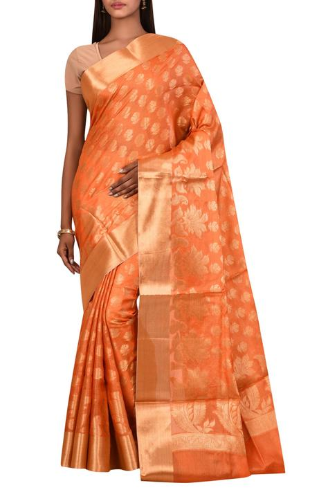 Tussar Silk Saree with Unstitched Blouse Fabric