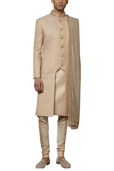 Silk Textured Sherwani Set