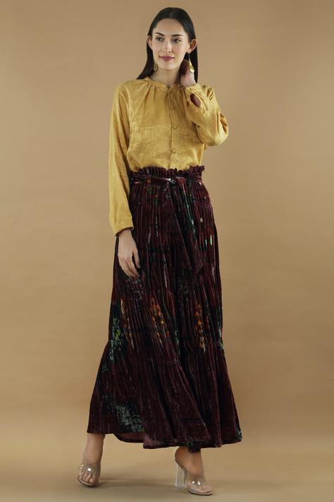 Silk Velvet Pleated Pants