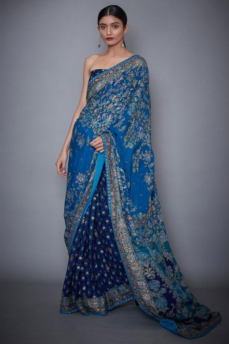 Embroidered Saree with Unstitched Blouse