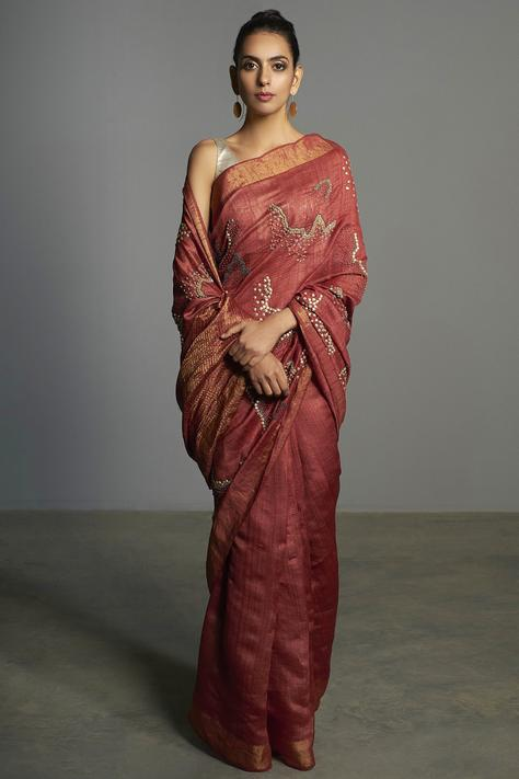Embellished Tussar Silk Saree with Unstitched Blouse