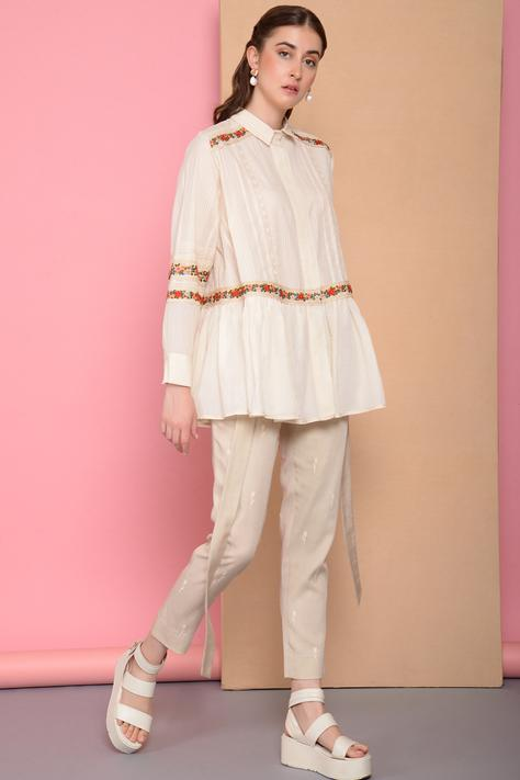 Embroidered Flared Shirt