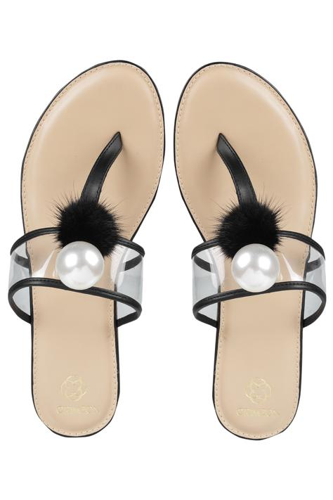 Embellished Clear-Strap Flats