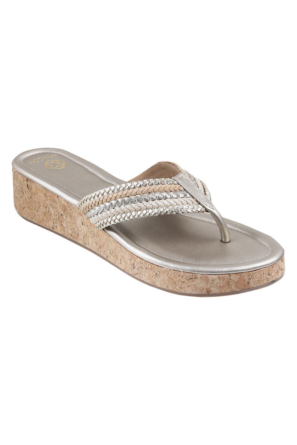 Metallic Braided Platform Heels