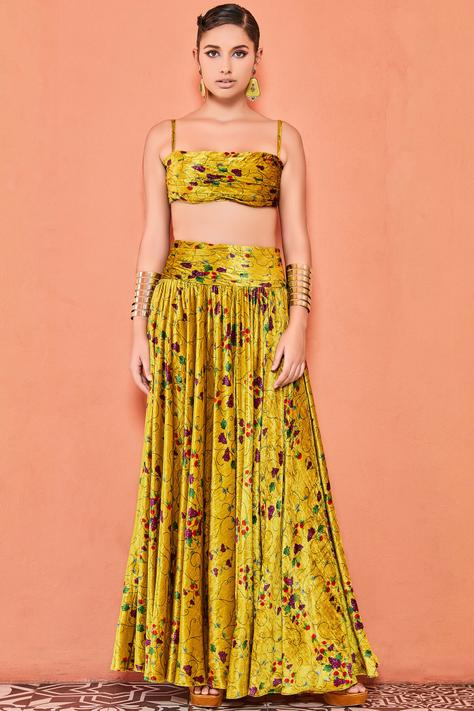 Silk Velvet Printed Skirt Set