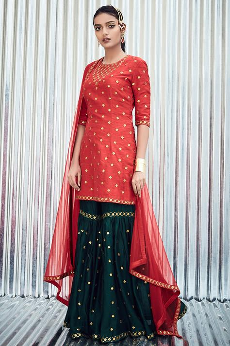 Embroidered Kurta Sharara Set