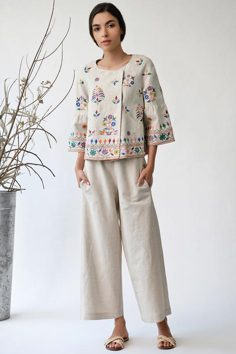 Cotton Linen Embroidered Jacket