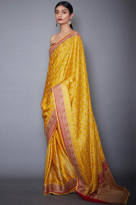 Silk Satin Embroidered Saree with Unstitched Blouse Fabric
