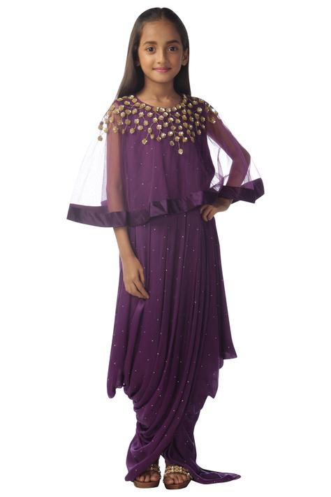 Embellished Dress with Cape