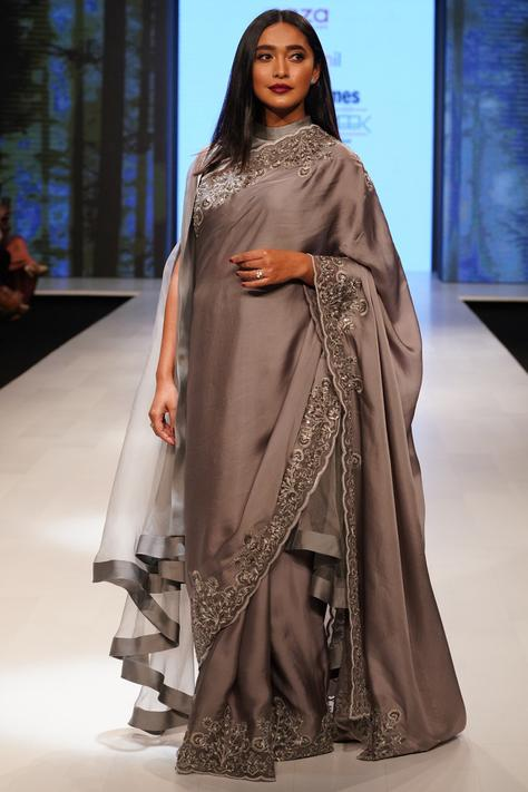 Embellished Cape Saree with Blouse