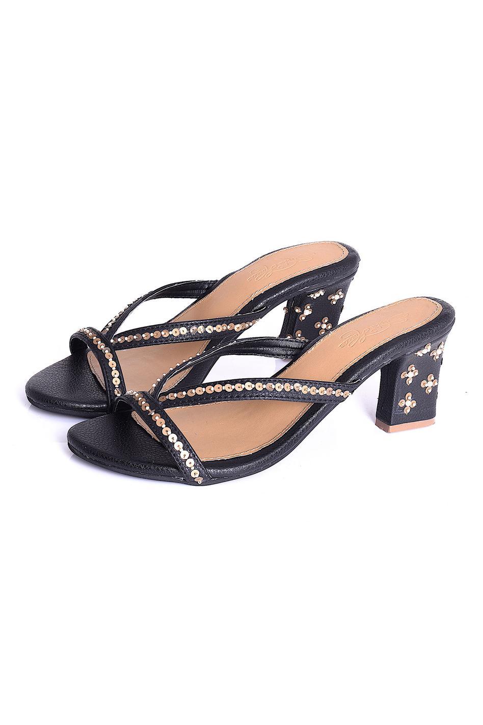 Vegan Leather Embellished Heels