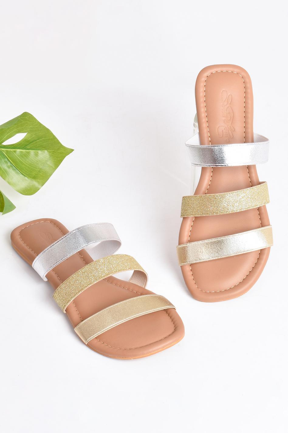 Multi-Strap Glitter Sliders