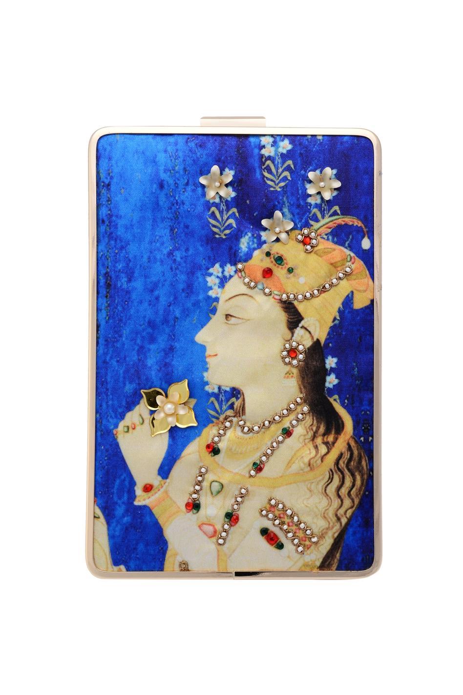 Blue rectangular clutch with a digital print