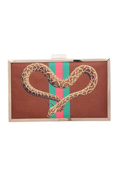 Brown clutch with digital print