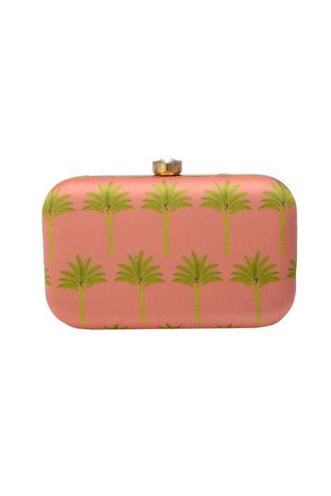 Pink clutch wit tree motif
