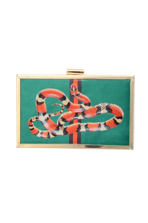 Green clutch with snake print