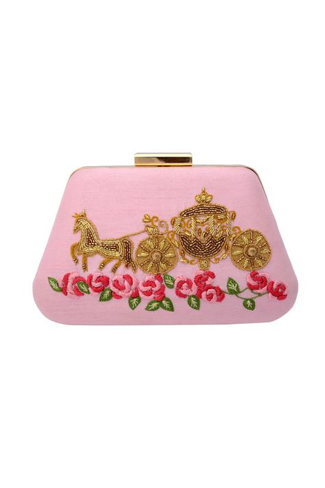 Pink embroidered clutch with bead