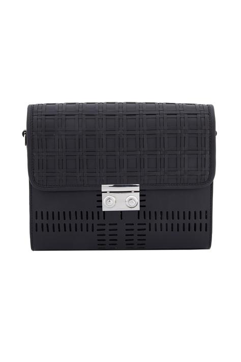 Black satchel bag with a checked woven pattern