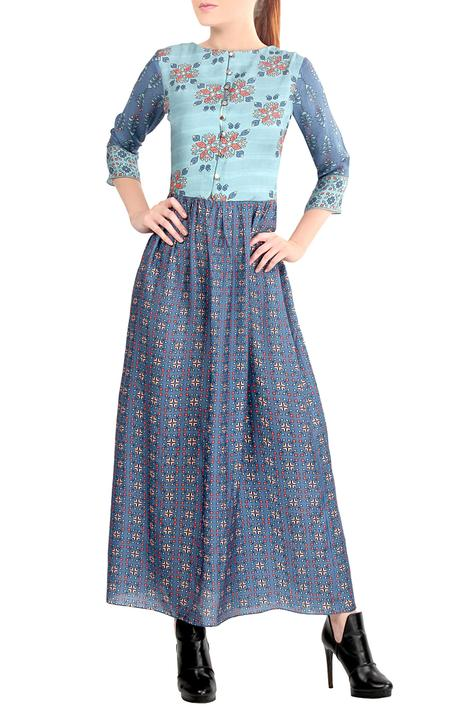 Blue printed gown