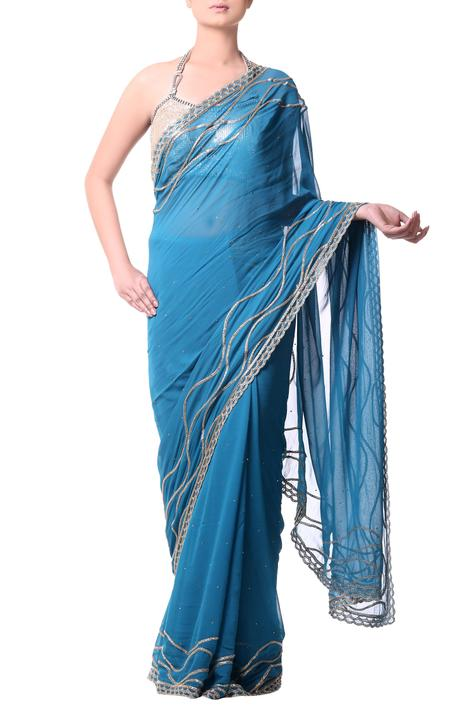 Turquoise Blue saree with gold buged embroidery