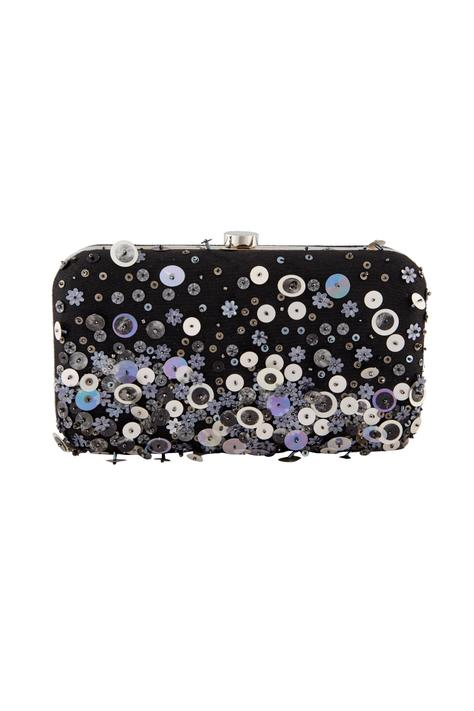 Black sequin embellished clutch