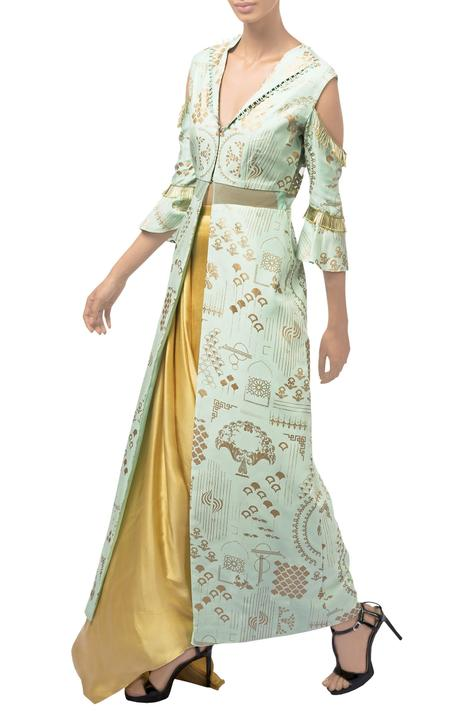 Parrot green & gold dupion silk jacket with drapped dhoti