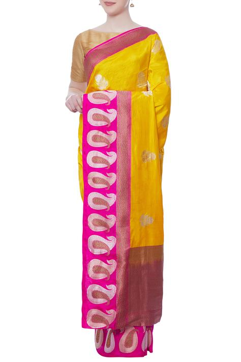 Yellow & purple banarasi silk saree