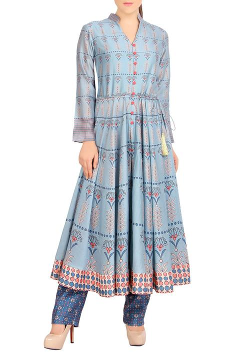 Blue printed anarkali with pants