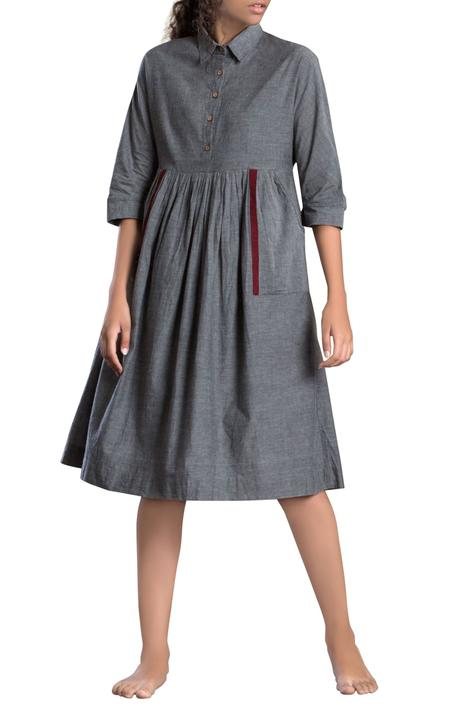 Grey handloom cotton midi dress