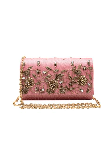 Pink zardozi embroidered clutch.