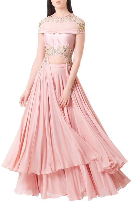 Rose pink georgette embroidered crop top with palazzos