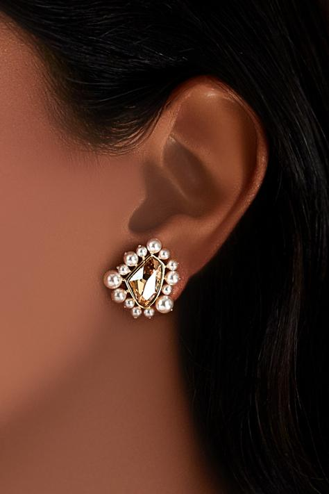 Gold plated Isharaya swarovski stud earrings