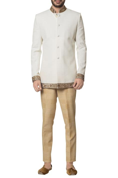 White cotton zardozi embroidered bandhgala with brown hand block print trouser & inner kurta