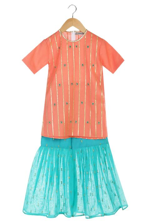 Coral short sleeve handmade kurta with sharara pants