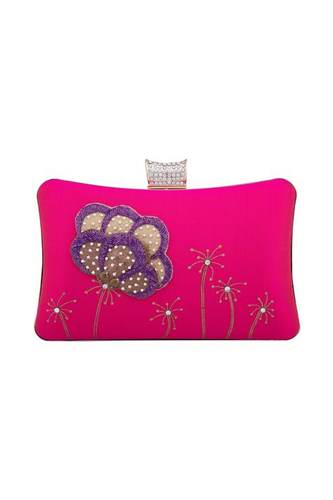 Pink floral patchwork detail clutch