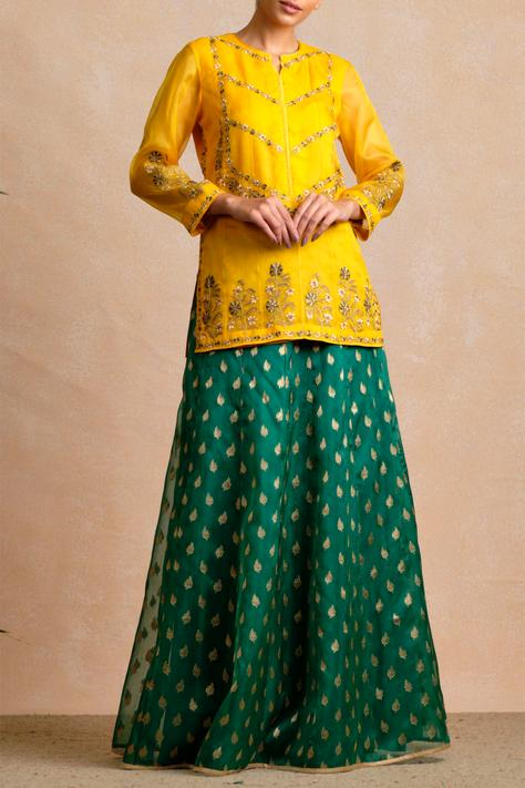 Embroidered Kurta Lehenga Set